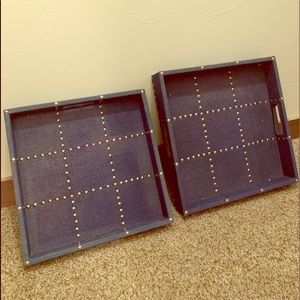 """Navy Studded Stacking Canvas Trays 12"""" + each"""